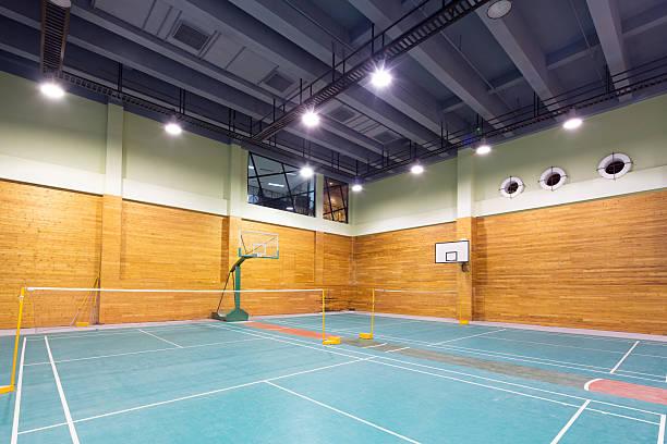 interior of indoor stadium - badminton sport stock pictures, royalty-free photos & images