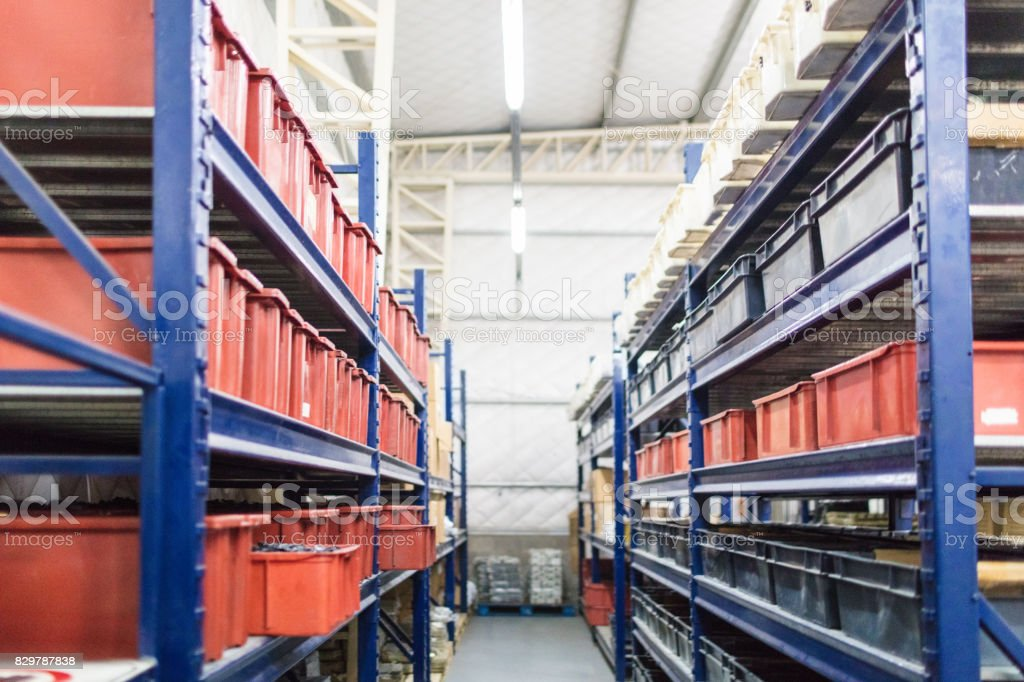 Interior of industrial warehouse stock photo