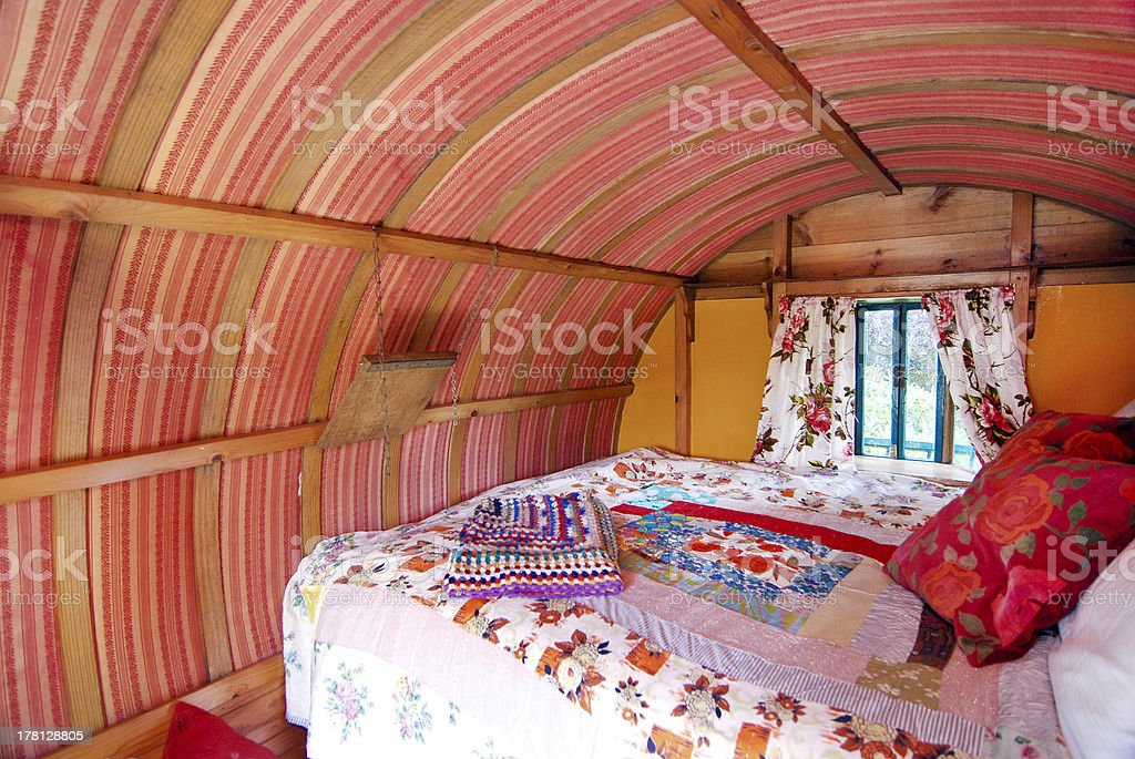 Interior of Irish Romany Gypsy Caravan - Royalty-free Bed - Furniture Stock Photo