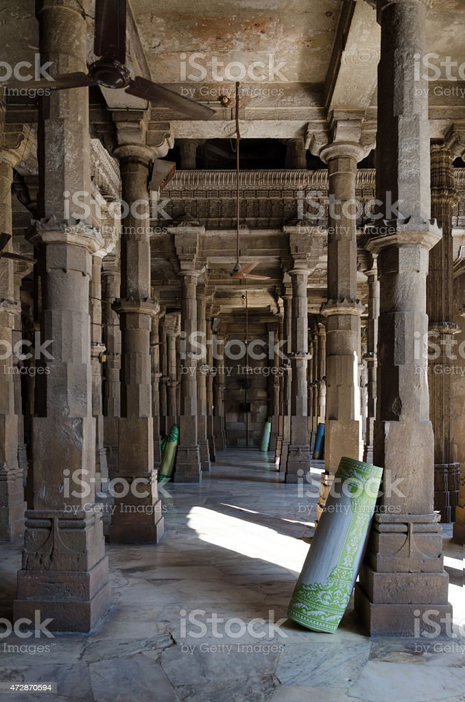 Interior of Jama mosque in Ahmedabad stock photo