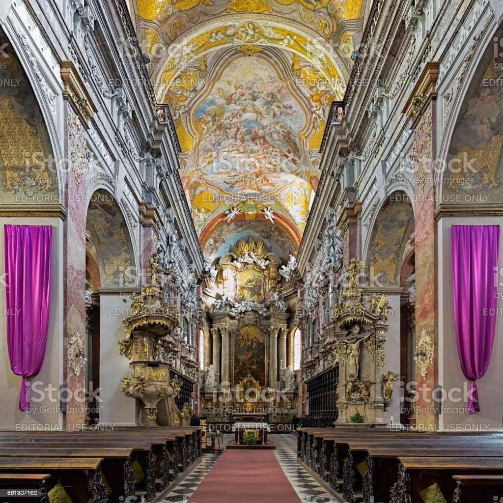 Interior of Jesuit Church in Brno, Czech Republic stock photo