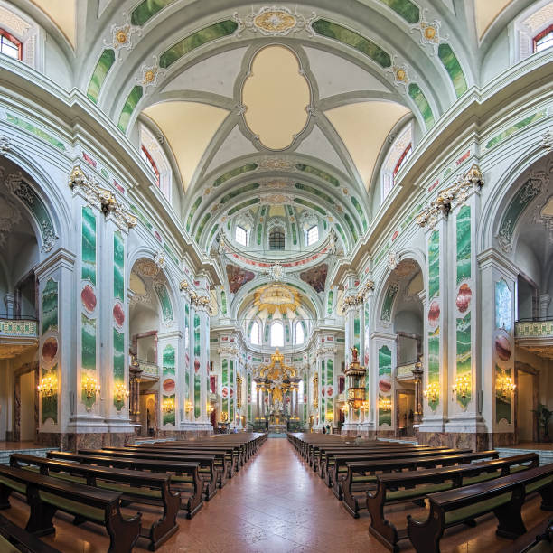 Interior of Jesuit Church in Mannheim, Germany stock photo
