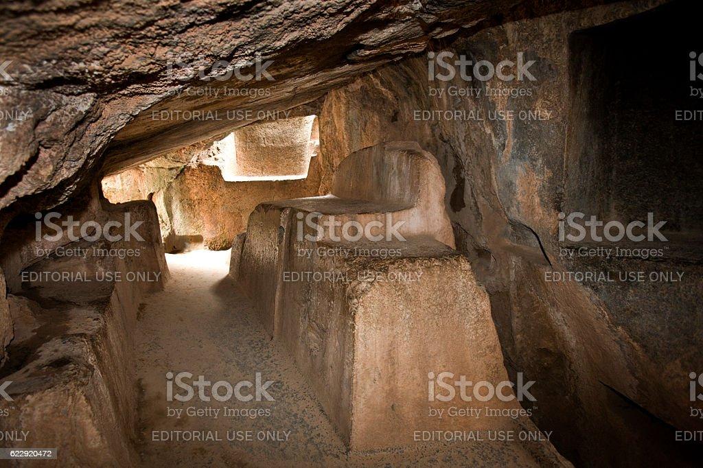 Interior of Kenko Cave Temple near Cuzco in Peru stock photo