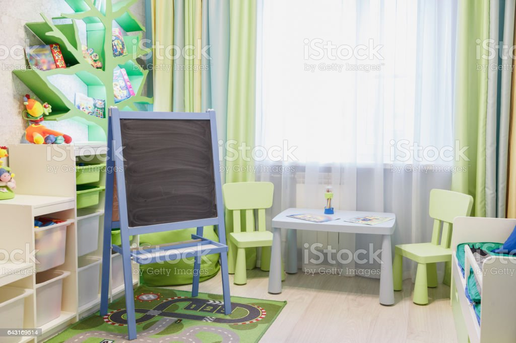 interior of kids playing room stock photo