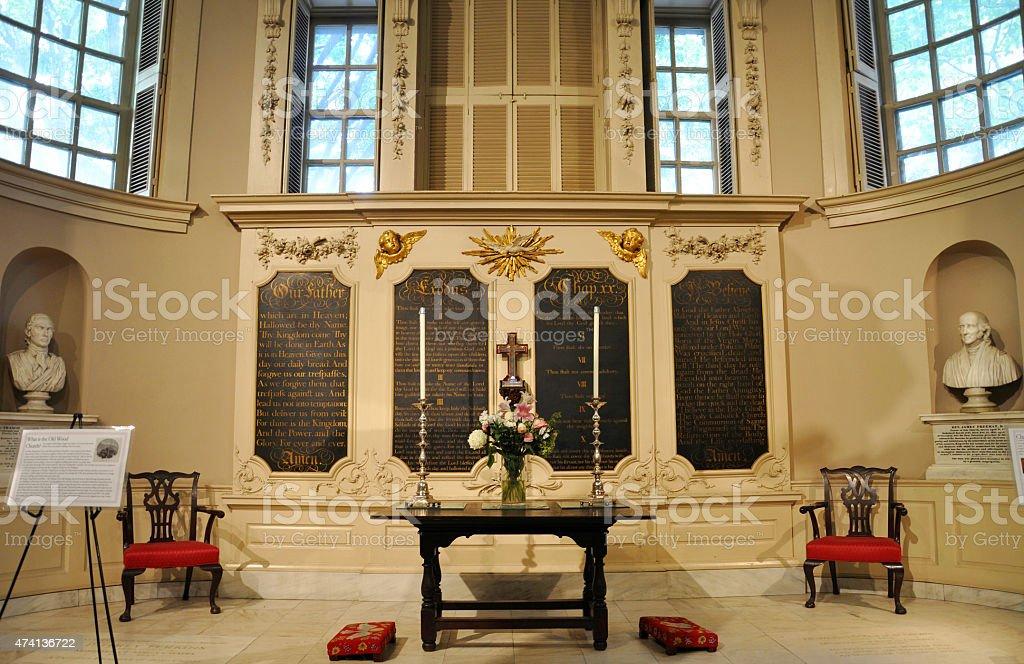 Interior of Kings Chapel in Boston, USA stock photo