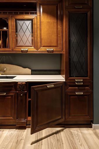 Interior Of Kitchen With Stylish Design With Vintage Style Cabinets - zdjęcia stockowe i więcej obrazów Archiwalny