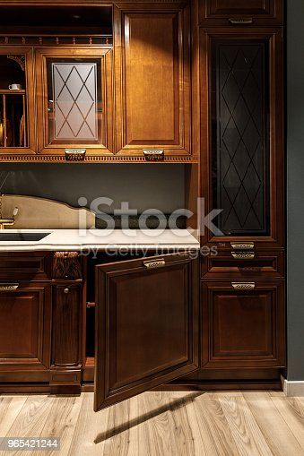 Interior Of Kitchen With Stylish Design With Vintage Style Cabinets Stock Photo & More Pictures of Appliance