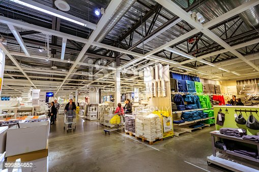 Portland, Oregon, United States - Dec 20, 2017 : Interior of large IKEA store with a wide range of products in Malmo, Sweden. Ikea was founded in Sweden in 1943, Ikea is the world's largest furniture retailer.