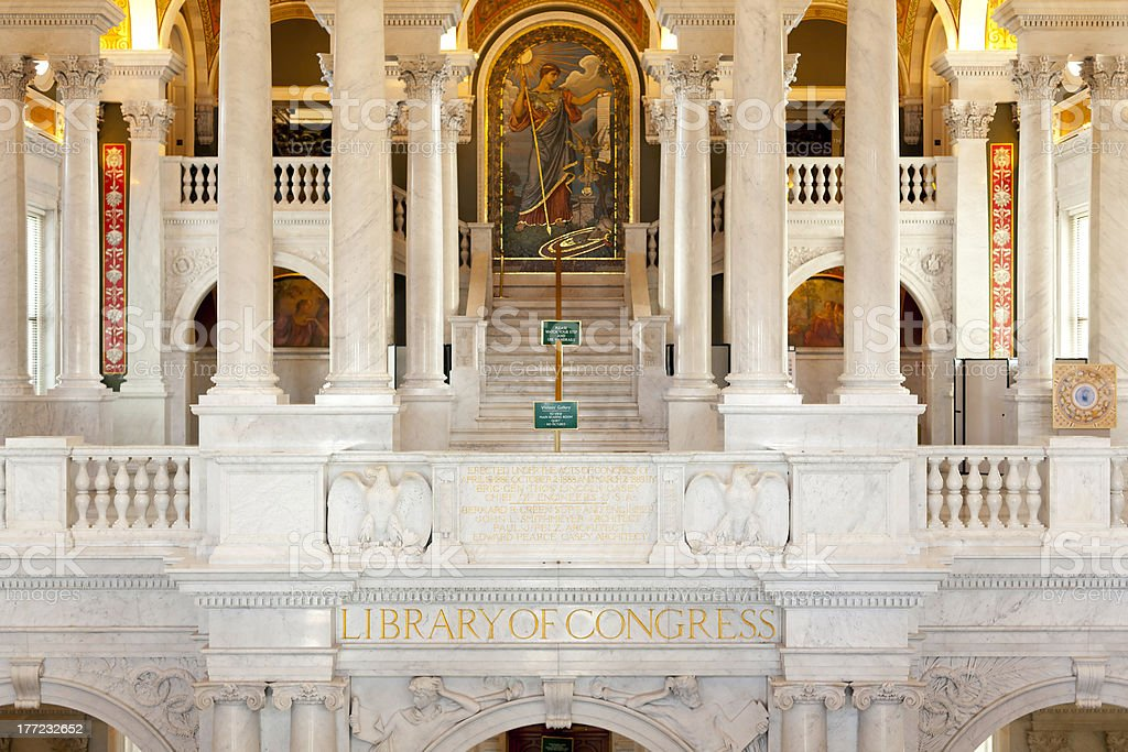 Interior of Library Congress in Washington DC stock photo