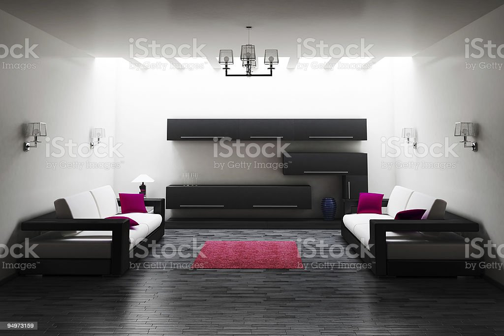 Interior of living room 3d royalty-free stock photo