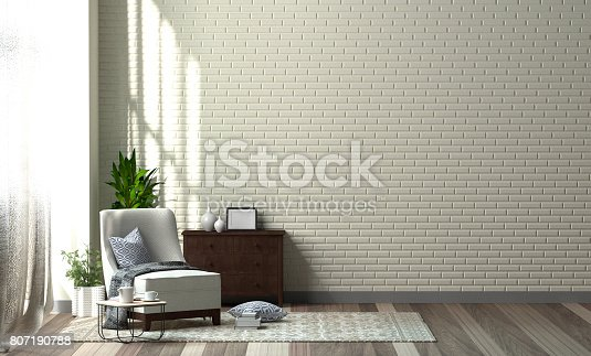 1095381860istockphoto Interior of living room designer chair with plant in front of clean walls 3D Rendering,Minimalist room interior 807190788