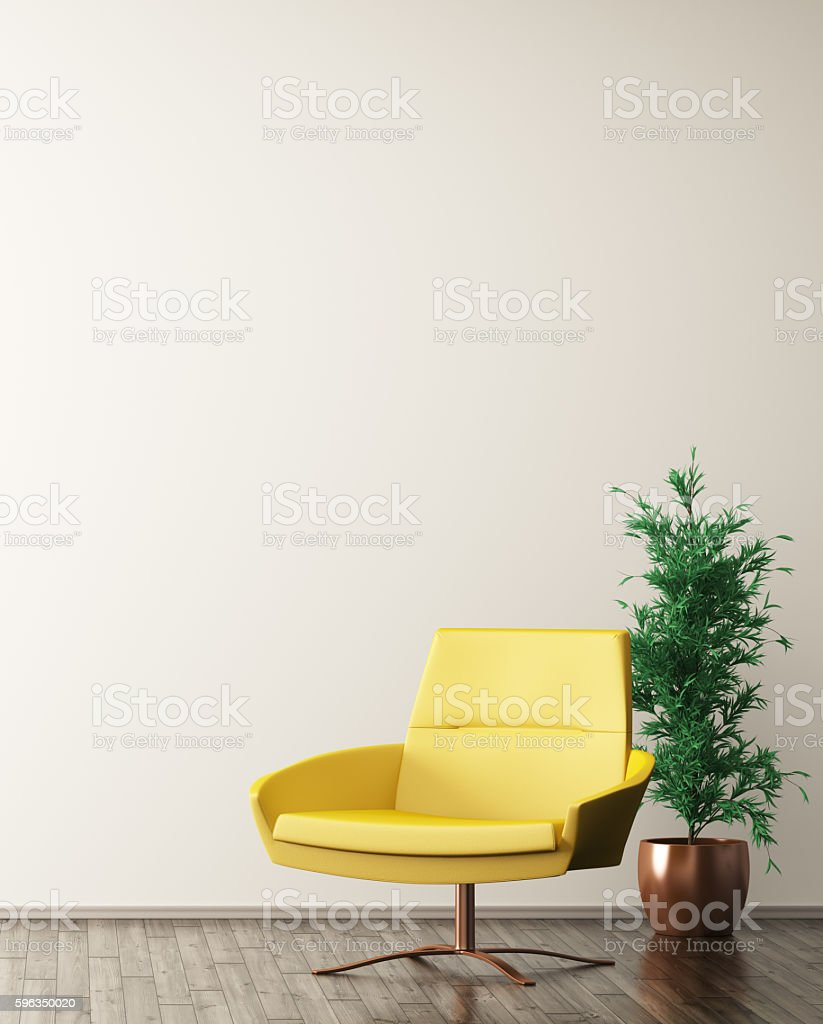 Interior of living room with armchair 3d rendering royalty-free stock photo