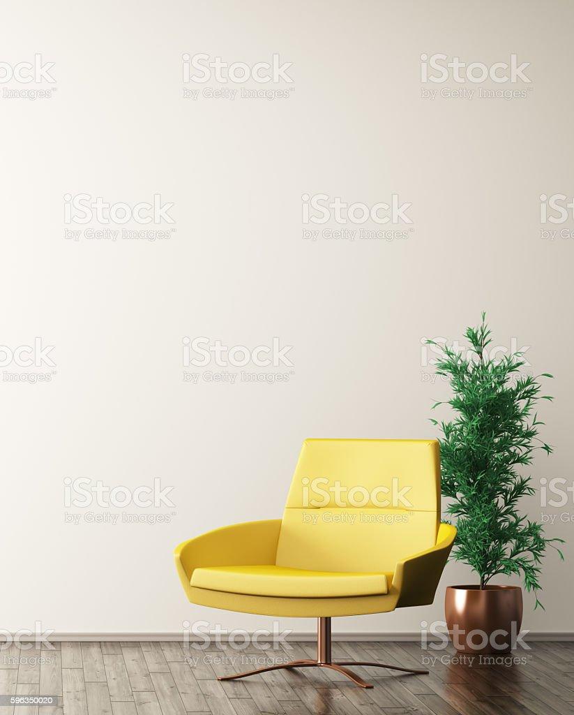Interior of living room with armchair 3d rendering Lizenzfreies stock-foto