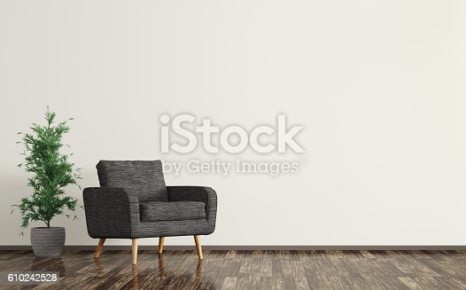 istock Interior of living room with black armchair 3d rendering 610242528