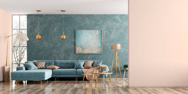 Interior of living room with blue sofa 3d rendering Modern interior of living room with blue corner sofa, coffee tables, floor lamp, wall with copy space 3d rendering wallpaper decor stock pictures, royalty-free photos & images