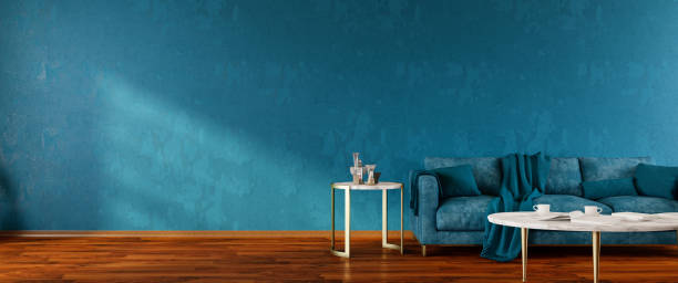 Interior of Living Room with Blue Sofa Panorama stock photo
