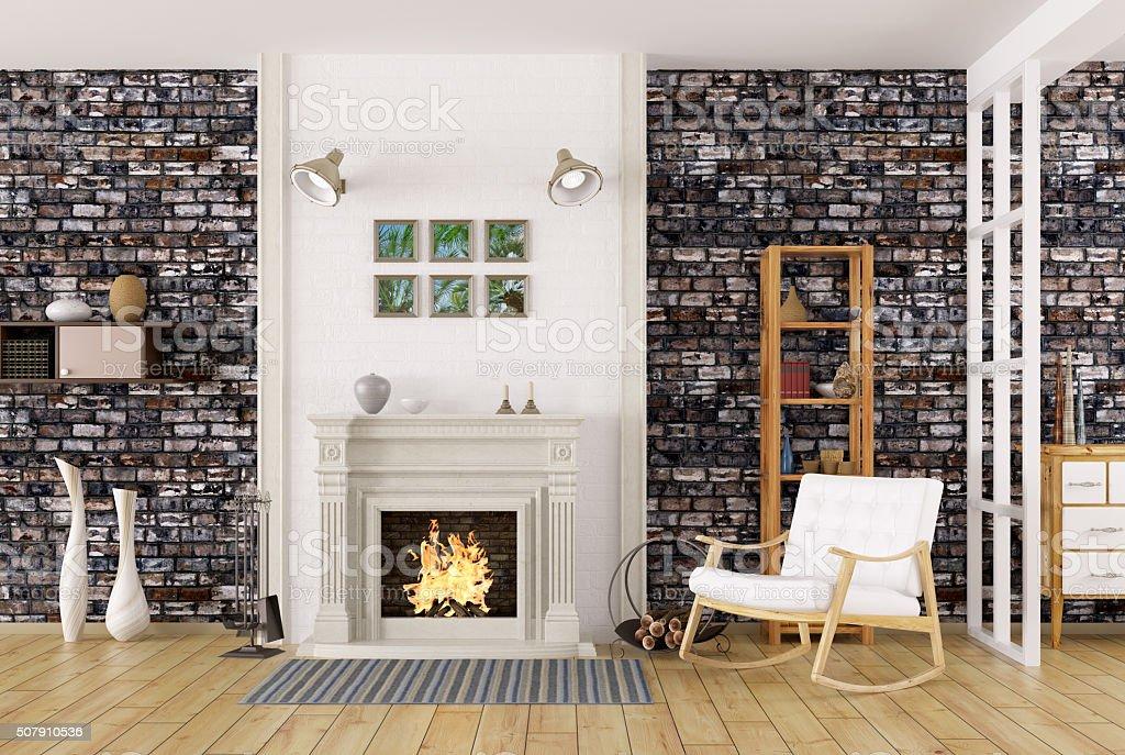 Interior da sala de estar com lareira representação artística em 3D - foto de acervo