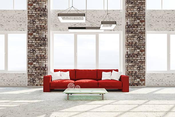 インテリアのリビングルームの赤いソファ付きの 3 d 完成予想図 - ソファ 無人 ストックフォトと画像