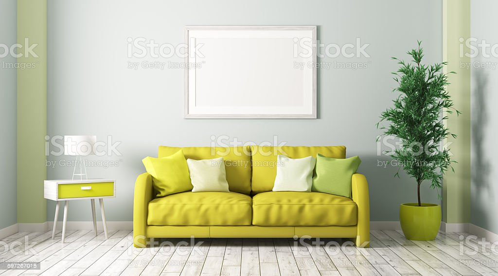 Interior of living room with sofa 3d render royalty-free stock photo