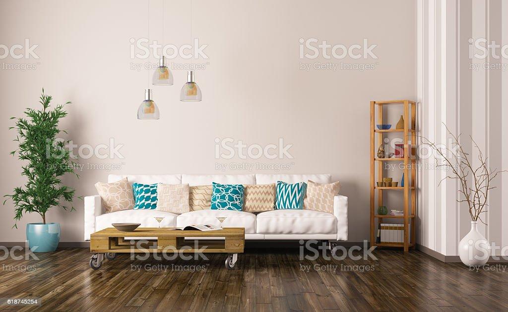 Interieur Des Wohnzimmer Mit Sofa 3d Render Stock-Fotografie und ...