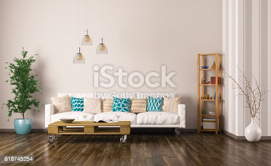 istock Interior of living room with sofa 3d render 618745254