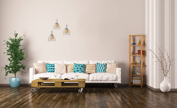 Interior of living room with sofa 3d render stock photo