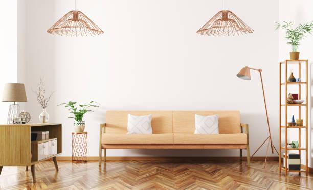interieur des wohnzimmer mit sofa 3d render - anrichte weiß stock-fotos und bilder