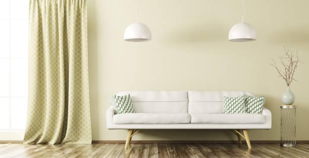interieur des wohnzimmer mit sofa 3d render - oliven wohnzimmer stock-fotos und bilder