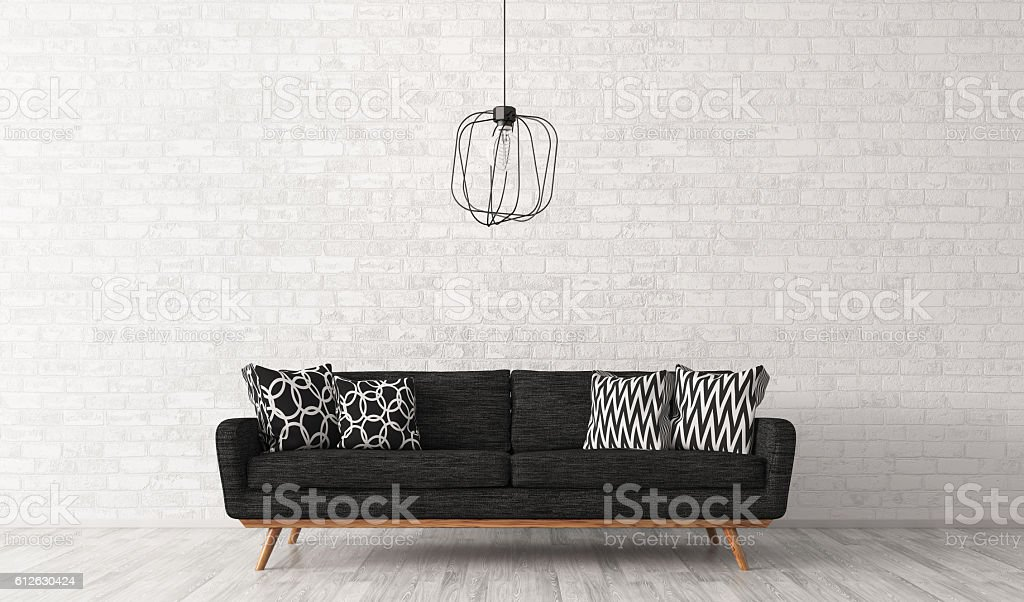 Interior of living room with sofa 3d rendering stock photo