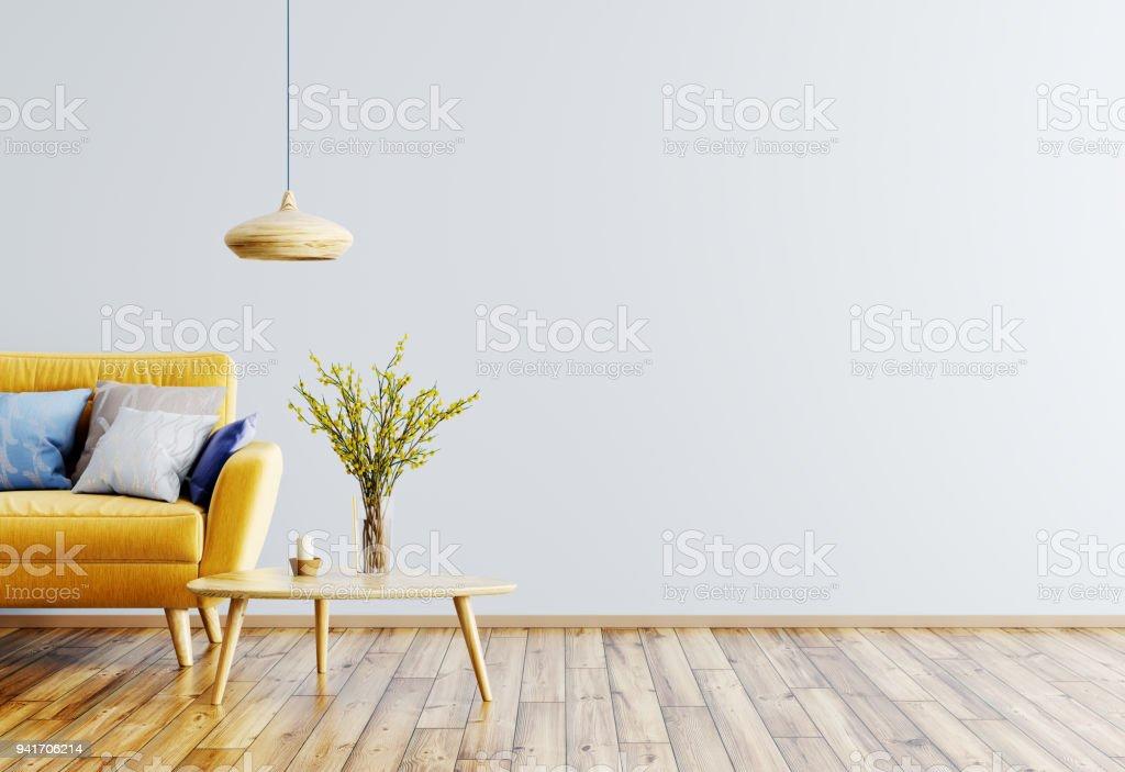 Intérieur de la salle de séjour avec canapé – Représentation en 3D photo libre de droits