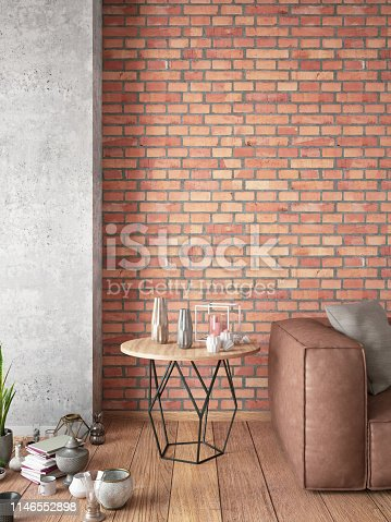 Living Room with Sofa. 3D Render