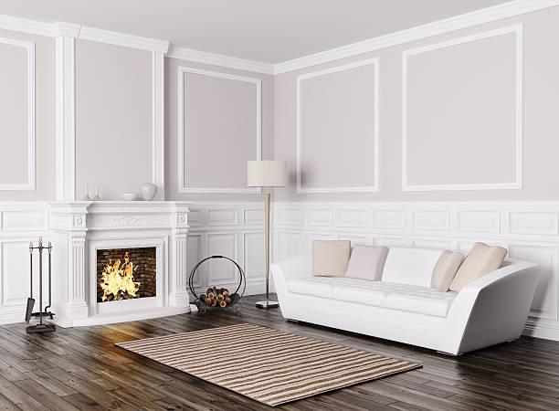 interieur des wohnzimmer mit sofa und kamin 3d render - kamin weiß stock-fotos und bilder