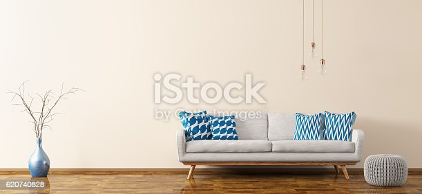 istock Interior of living room with sofa and pouf 3d rendering 620740828