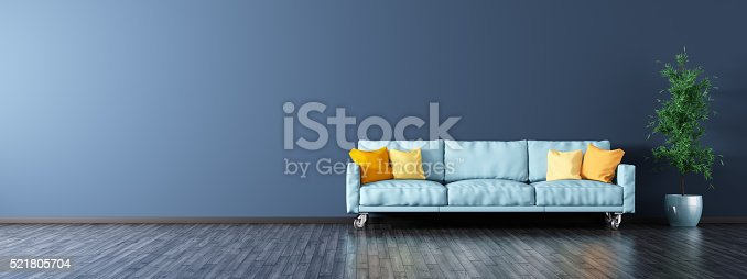 istock Interior of living room with sofa panorama 3d rendering 521805704
