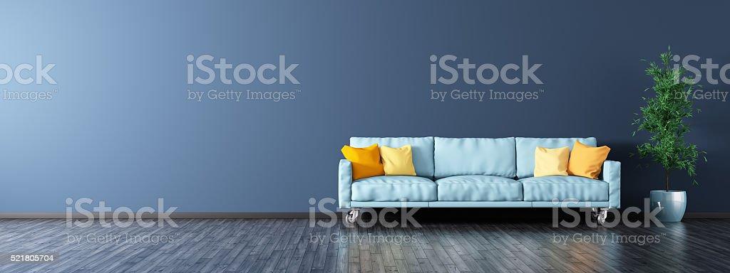 Interior de una sala de estar con sofá, panorama 3d imagen - foto de stock
