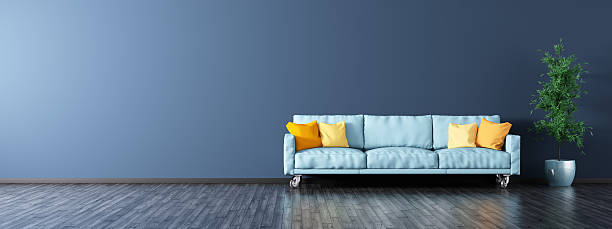 Interior of living room with sofa panorama 3d rendering stock photo