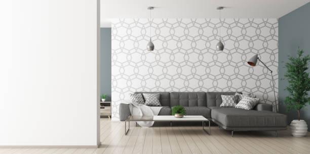 interior of living room with sofa rendering - living room background imagens e fotografias de stock