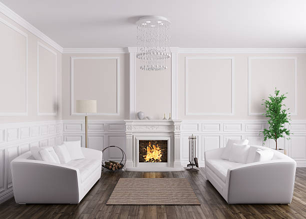 ... Interior of living room with sofas and fireplace 3d render stock photo  ...