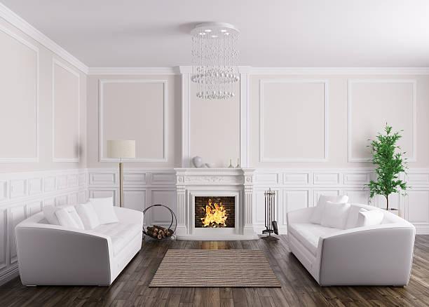 interieur des wohnzimmer mit sofas und kamin 3d render - kamin weiß stock-fotos und bilder