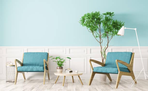 interieur aus wohnzimmer mit zwei sesseln 3d-rendering - sessel türkis stock-fotos und bilder