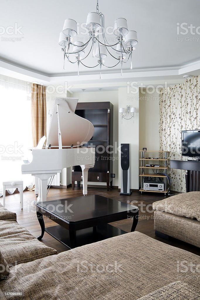 Interior of living room with white piano royalty-free stock photo