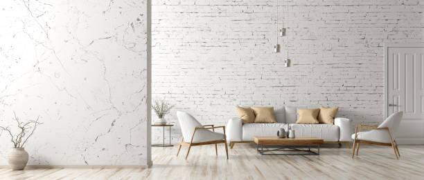 interieur van woonkamer met witte bank 3d-rendering - loft stockfoto's en -beelden