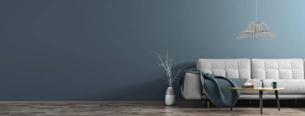 リビングルームのインテリア、ホワイトソファ、木製コーヒーテーブル、花瓶、ブランチパノラマ3d レンダリング - ソファ 無人 ストックフォトと画像