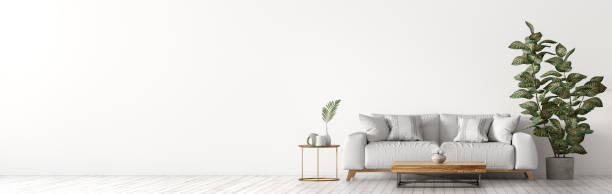 白いソファとコーヒーテーブルパノラマ3dレンダリングとリビングルームのインテリア - ソファ 無人 ストックフォトと画像