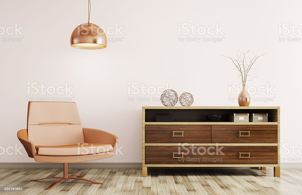 interior of living room with wooden dresser 3d rendering stock photo