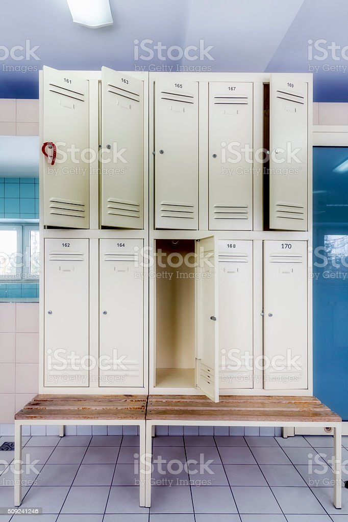Interior of locker room stock photo