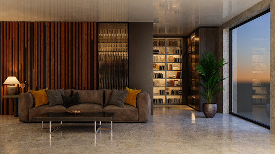 Interior Of Luxurious Living Room With Sofa And Bookshelf. Dusk Scenery From The Window.