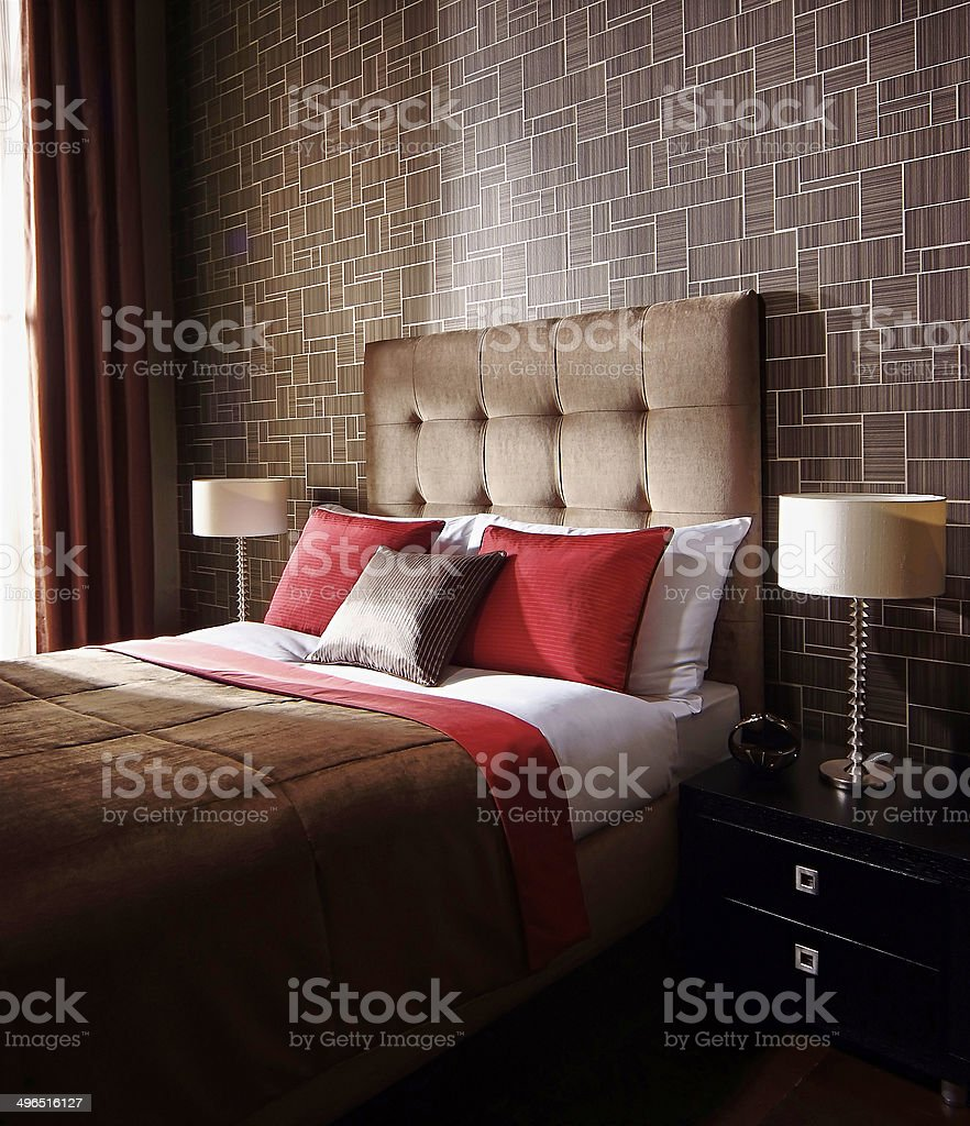 Interior of luxury bedroom stock photo