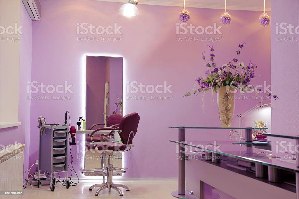 interior of luxury hair salon stock photo