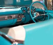 Interior of luxury vintage car close up